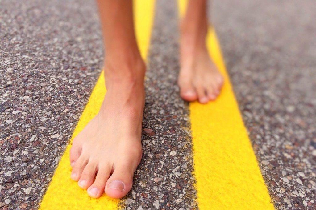 walk, street, barefoot